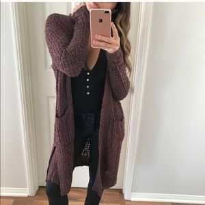 Cozy Merlot Open Cardigan